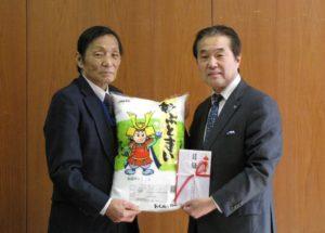 JA 海部東農業協同組合(あまひがし) -地元米を寄贈 大治町学校給食へ